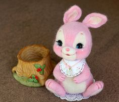 RESERVED-needle felted rabbit vintage toy Miniature by Softhug