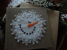 Completed Cross Stitch Bent Creek Snowman Christmas Card Swarovski Crystals | eBay