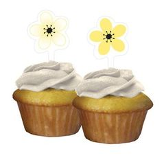 Flower Cupcake picks - Chic Flower Cupcake Topper