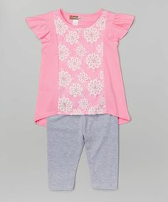 This Pink Floral Tunic & Gray Leggings - Toddler & Girls by Ziggles is perfect! #zulilyfinds