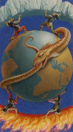 XXI. The World - Dragons Tarot by Severino Baraldi