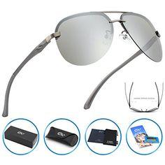24b5ea17cfe CGID GA43 Premium Al-Mg Alloy Rimless Aviator Polarized Sunglasses UV400