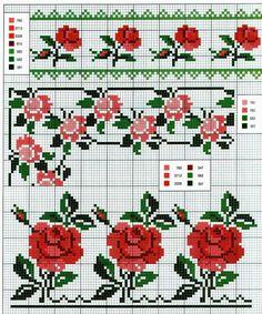 schema punto croce bordura fiori   Hobby lavori femminili - ricamo