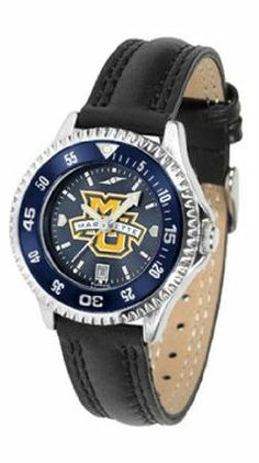 Marquette Golden Eagles NCAA Womens Leather Anochrome Watch by SunTime. $79.95. Showcase the hottest design in watches today! A functional rotating bezel is color-coordinated to compliment your favorite team logo. A durable long-lasting combination nylon/leather strap together with a date calendar round out this best-selling timepiece.The AnoChrome dial option increases the visual impact of any watch with a stunning radial reflection similar to that of the underside of ...