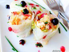 Blog de cuina de la dolorss: Rollitos de quinoa con verduras y vinagreta de grosellas