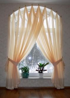 Half Circle Window Curtains Arched windows curtains on the hooks Arched windows treatmentes Half Circle Window, Half Moon Window, Curtains For Arched Windows, Drapes Curtains, Modern Curtains, Valances, Window Blinds, Arch Windows, Bay Windows