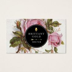 Author, Writer Business Card - Rose Feminine