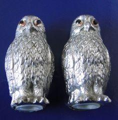 SALERONS SEL ET POIVRE METAL  ARGENTE PAIRE DE CHOUETTES HIBOUX Statues, Owl, Bird, Metal, Animaux, Owls, Effigy, Birds