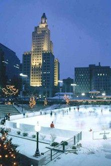 Public Ice Skating in downtown Providence!  Winter fun in RI!  ~  In the background, the famous 'Superman' building!