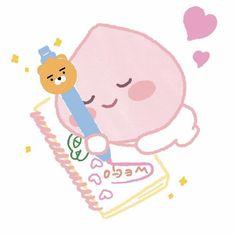 Peach Wallpaper, Kawaii Wallpaper, Wallpaper Quotes, Apeach Kakao, Doodle Quotes, Kakao Friends, Cartoon Stickers, Aesthetic Stickers, Kawaii Cute