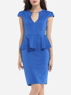 Falbala V Neck Dacron Plain Bodycon Dress
