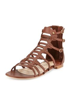 Paul Andrew Agia Leather Gladiator Sandal, Tobacco