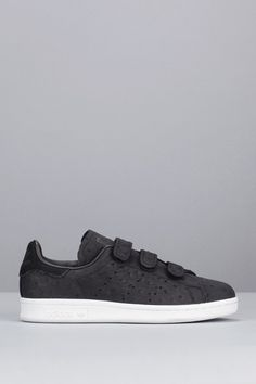 adidas originals black nubuck leather stan smith trainers with strap