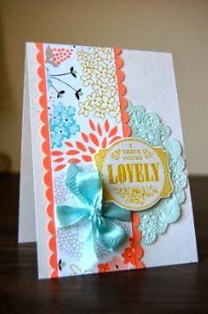 Stampin' Up! 2014 SAB Sweet Sorbet designer paper, stamp set You're Lovely! www.juliejapes.blogspot.com