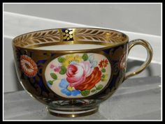 Antique Spode English Cobalt Blue & Gold Imari Porcelain Tea Cup c1820 A3215