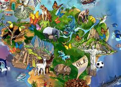 World Map Illustration detail: South America