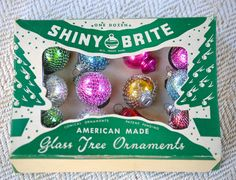12 Miniature SHINY BRITE Vintage Christmas Ornaments