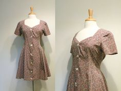 Vintage Mauve and Blue Floral Print Day Dress by tobedetermined
