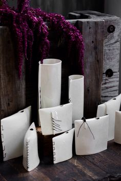 Porcelain stitched pillow vases