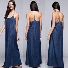 Love Stitch Billowy Soft Tencel Maxi, with Halter Open Back Dress #LoveStitch #Maxi