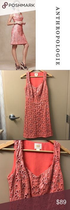 """Final Price Anthro Maeve Coralshine overlay dress! Nwot, size 2. Armpit to armpit 14.5"""" Armpit down 28"""" Shoulders down 36.5"""" Anthropologie Dresses"""