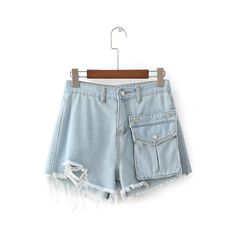 Wide leg shorts Free shipping casual Women Korean high waist solid color shorts denim hot shorts loose shorts with hole #Affiliate