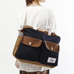 Cross Bag Navy + Brown by DRIFE