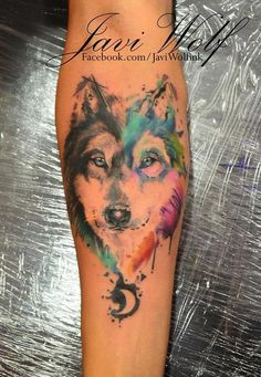 Water Color Wolf Tattoo