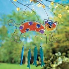 fused glass Cat Wind chime