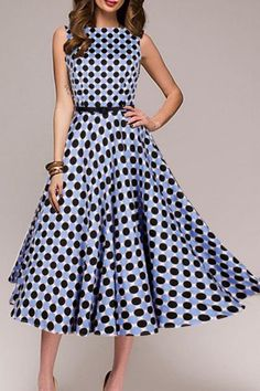 Round Neck Polka Dot Skater Dress,Explore the newest trends and essentials designed for any and every occasion! Cheap Skater Dresses, Polka Dot Maxi Dresses, Floral Skater Dress, Wrap Dress Floral, Boho Dress, Belted Shirt Dress, Dress Silhouette, Western Dresses, Online Dress Shopping