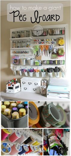Giant pegboard is a perfect storage idea for a craft room! This DIY giant peg board is so awesome for organizing all of our craft supplies and would also make a great addition to any workspace. Art Storage, Craft Room Storage, Desk Storage, Storage Ideas, Pegboard Craft Room, Craft Rooms, Bedroom Storage, Storage Cabinets, Pegboard Organization
