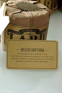 A Chef's Dinner. Wonderful invitation of Kraft wrapped lard with a notched envelope. Sun Dried, Packaging Design, Invitations, Dinner, Coffee, Drinks, Sideshow, Cooking, Food