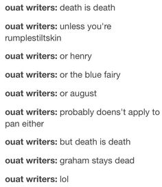 Death applies to no one on OUAT, except Graham. Can someone explain to me how that works?!