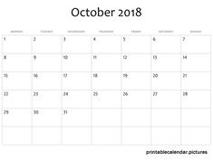 october monthly calendar 2018