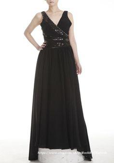 V neckline Black Chiffon Prom Dress