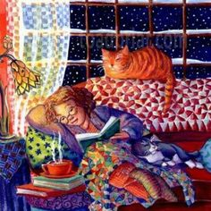 All the ingredients for peace of mind: chilly weather, a  good book, a cup of warm tea,  cozy pajamas, and of course, loving cats.