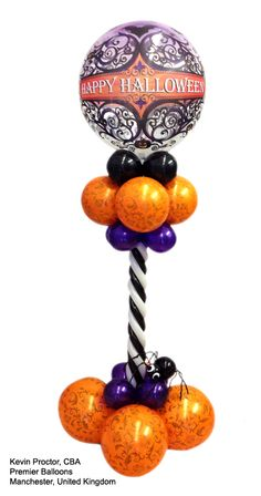 "This ""Gothic Twist Centerpiece"" has the perfect mix of style and spookiness. A gothic bubble on top and orange, black and purple balloons make this professional decor piece. Design by Kevin Proctor, CBA, of Premier Balloons in Manchester, United Kingdom Halloween Balloons, Halloween Party Themes, Halloween Birthday, Holidays Halloween, Happy Halloween, Halloween Decorations, Balloon Arrangements, Balloon Decorations, Balloon Ideas"