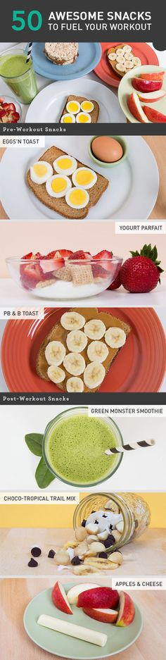 Eating a full meal before and after training isn't always easy, but don't skimp when it comes to snack time. Here are 50 simple recipes to hit the spot before and after workouts