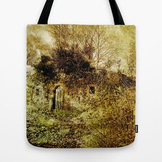 "Overgrown Tote Bag by Pirmin Nohr - $22.00  That's a part of a middle-age castle ruin, overgrown by ivy and other plants.  Also ""overgrown"" by a texture, like the photo made by myself.   historical building, nature, architecture, door, gate, ivy, trees, histor"