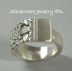 Silverware Spoon Ring, Silverware Jewelry, Spoon Jewelry, CORONATION 1936 Silver Spoon Ring. $19.97, via Etsy.