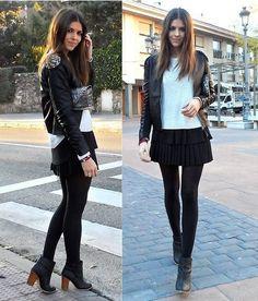 Cuero y falda plisada
