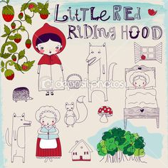 Hand drawn characters and pictorial elements of a famous fairytale, including Riding Hoods granny, wolf and forest friends