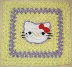 Ravelry: Hello Kitty 12 inch afghan granny square pattern by Stramenda Granny Square Pattern Free, Crochet Square Blanket, Crochet Squares Afghan, Crochet Blocks, Crochet Granny, Crochet Motif, Crochet Yarn, Crochet Patterns, Granny Squares