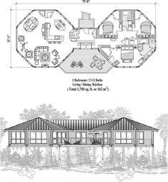 , 3 Bedrooms, 2 Baths, Piling Collection by Topsider Homes Round House Plans, Dream House Plans, House Floor Plans, Octagon House, Architectural Floor Plans, Dome House, House Blueprints, House Layouts, Little Houses