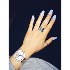 Blue acrylic nails ❤ liked on Polyvore featuring beauty products, nail care and nail treatments