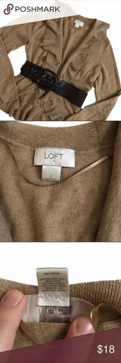 Loft Cardigan and Old Navy belt Tan soft cotton cardigan with ruffle neckline and hem.  Mild wash wear.  Brown synthetic elastic and woven leather look belt by Old Navy included.  Belt only worn one or two times. LOFT Sweaters Cardigans