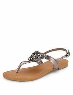 Pewter Diamanté Butterfly Sandals