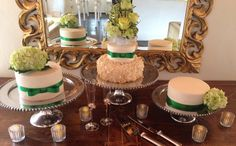 Separate tiers of the wedding cake