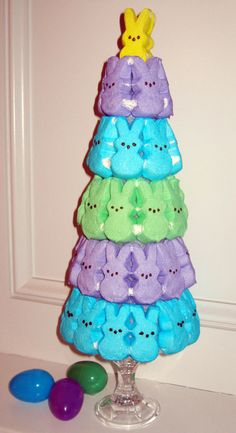I made one of these today! I used strong glue and broken toothpicks to attach the peeps to a Styrofoam cone. I set the base of a trifle bowl inside the bowl filled with Easter grass. Then I place the completed topiary on the base.