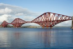 Forth Bridge ~ near Edinburgh, Scotland ~ Sir John Fowler and Sir Benjamin Baker (1890) ~ Cantilever Bridge (8,094 ft / 2,467 m) ~ The world's second-longest single cantilever span carries rail traffic across the Firth of Forth between South Queensferry and North Queensferry.